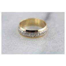 Irish Wedding Vintage Two Tone Band With Celtic And Claddagh Design
