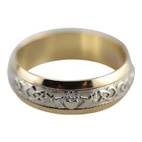 Irish Wedding, Vintage Two Tone Band with Celtic and Claddagh Design
