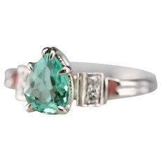 Upcycled Pear Cut Emerald and Diamond Ring