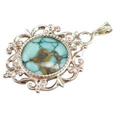Ornate Upcycled Turquoise Pendant