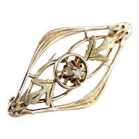 Art Nouveau Buttercup Diamond Pin