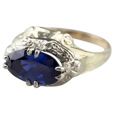 Retro Sapphire East to West Two Tone Ring