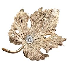 Dreamy Diamond Grape Leaf Brooch