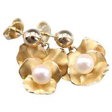 Sweet Cultured Pearl Orchid Flower Earrings