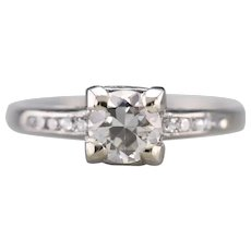 Retro European Cut Diamond Ring