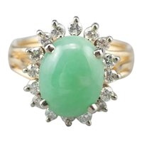 Vintage Jade Cabochon and Diamond Halo Ring