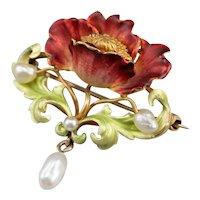 Art Nouveau Era Floral Poppy Pin