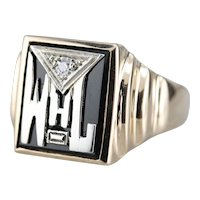 Vintage Black Onyx and Diamond Signet Ring
