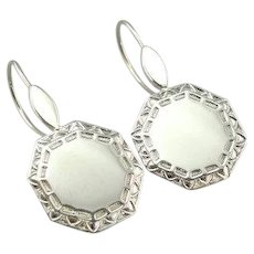 Upcycled Cufflink Drop Earrings