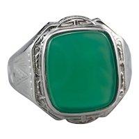 Art Deco Green Onyx Men's Ring