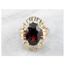 Mid Century Garnet Cocktail Ring