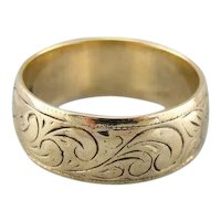 Scrolling Floral Motif Vintage Wedding Band