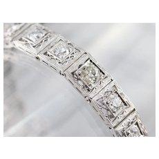 Art Deco Old Mine Cut Diamond Diamond Filigree Link Bracelet