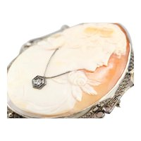 Art Deco Diamond Cameo Brooch or Pendant