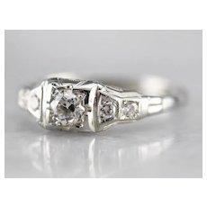 Late Deco European Cut Diamond Ring