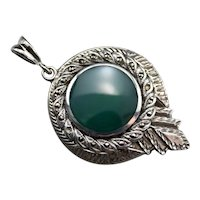 Deco Green Onyx and Marcasite Pendant