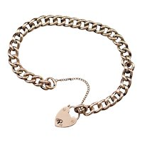 Antique Curb Chain Padlock Heart Bracelet