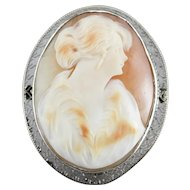 Lady in Furs Vintage Cameo Filigree Brooch