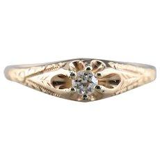 Engraved Upcycled Diamond Belcher Ring