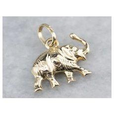 Raised Trunk Lucky Elephant Pendant or Charm
