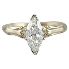 Upcycled Marquise Diamond Solitaire Ring