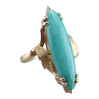 Vintage Marquise Cut Turquoise Ring