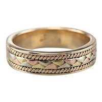 Vintage Tri-Color 14 Karat Gold Pattern Band