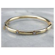 Bezel Set Diamond Bangle Bracelet