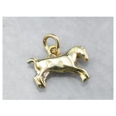 14K Tiny Horse Charm
