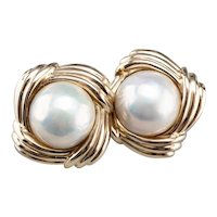 Oversized Mabe Pearl Stud Earrings