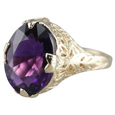 Floral Filigree Upcycled Amethyst Ring