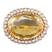 Victorian Citrine Cultured Pearl Halo Brooch