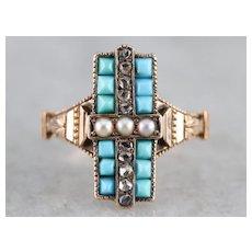 Victorian Turquoise Diamond Dinner Ring