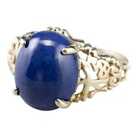 Lapis 10 Karat Gold Filigree Ring