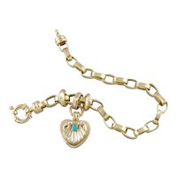 Retro Era, Vintage Link Bracelet with Turquoise Heart Charm, Scallop Motif