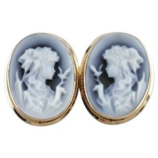 Lady With Bird Onyx Cameo Stud Earrings