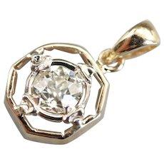 Old Mine Cut Diamond Solitaire Pendant