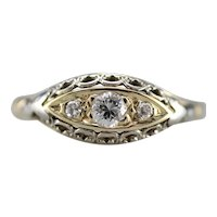 Flowing Filigree Three Stone Diamond Ring