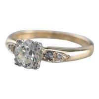 Retro Era Diamond Engagement Ring with Diamond Accents