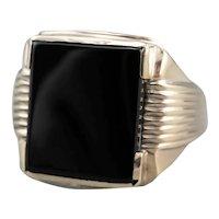 Men's Retro Black Onyx Ring