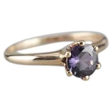 Color Changing Purple Sapphire Solitaire Ring