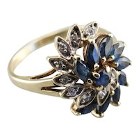 Marquise Sapphire and Diamond Cluster Ring