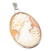 Vintage 925 Sterling Silver Cameo Pendant