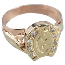 "Good Luck Diamond ""C"" Initial Signet Ring"