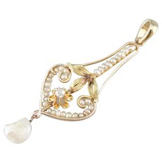 Art Nouveau Buttercup Diamond Lavalier Pendant