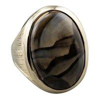 Mens' Engraved 14 Karat Gold Jasper Ring