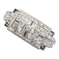 Art Deco Old Mine Cut Diamond Brooch