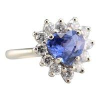 Heart Cut Sapphire and Diamond Ring