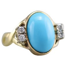 Upcycled Turquoise and Diamond Cocktail Ring