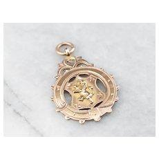 Antique Rose 9 Karat Gold Scottish Medallion